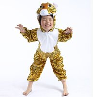 Wholesale Japanese Anime Kids Costume - Kids Cosplay clothes Performance animal clothes Big tiger Baby Stage suit Costume animal clothes for Children's day GN C020