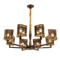 Wholesale Cognac Chandelier - BE165 Post-modern Art Deco Chandeliers Creative Mediterranean Cognac Color Glass Crystal Pendant Lamps Living Room Bar Villas Lighting Light
