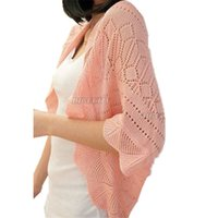 Wholesale Womens Puff Jackets - 2015 New Ladies Tops Womens Kitted Crochet Cardigan Air Conditioning Puff Sleeve Outwear Sweater Smock Coats Jackets Clothing