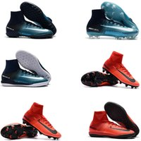 Wholesale Cheap Ankle Boots For Men - fire&ICE Mercurial Superfly V Football Boots High Ankle Soccer Cleats For Men Cheap Superflys Soccer Boots Mens Soccer Shoes Fire & Ice 2017