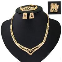 Wholesale V Shape Gold Necklace - Golden plated V shape jewelry sets bracelets earrings necklace American big brand rhinestone jewelry sets 4 pieces fine jewelry