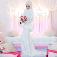 column wedding dress peplum prices - White Sheath Arabic Wedding Dress High Neck Long Sleeves With Peplum and Appliques Dubai Kaftan Bridal Gown zahy963