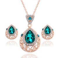 ingrosso set verde austriaco di cristallo-Donna Ladies Green Gem austriaco catena di gioielli in cristallo set collana goccia orecchini set gioielli da festa joyeria