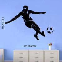 Wholesale Bedroom Design Blue - Football Soccer Man Vinyl Wall Sticker Boys Bedroom Room Wall Art Decal