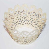 Wholesale Cupcake Wrappers For Weddings - free shipping 120pcs Ivory filigree Hollow Laser cut Lace Cupcake Wrapper paper Cup Cake FOR Wedding Party Decoration