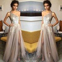 Wholesale Sequined One Shoulder Evening Dress - 2018 One Shoulder Sequins Tulle A Line Prom Dresses Split Floor Length Formal Party Evening Dresses