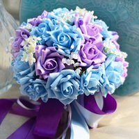 Wholesale wedding bouquet flower sets - New Wedding Bridal Bouquets PE Ribbon Artifical Roses 30pcs Set Wedding Bridesmaid Bouquets Party Flowers Ball Christmas Table Decorations