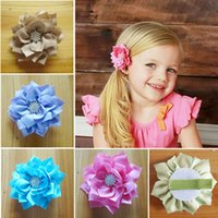 Wholesale Slide Hair Barrettes - High Quality Girl Fabric Lotus Leaf Hair Clips Kids Hair Accessories Flower Clips Barrettes Childrens Accessories Hair Slides Hairwear