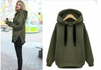 Wholesale Women Loose Plus Size Cashmere - Arm Green New Winter Autumn Loose Hooded Jacket Plus Size Thick Velvet Long sleeve Sweatshirt Korean Style Hoodies 500g pc