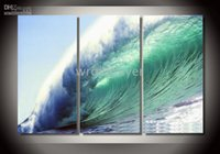 """Wholesale Stunning Oil Paintings - FREE SHIPING,STUNNING ORIGINAL Giant wave"""" BEACH SEASCAPE by A.Liang,Size :30cmx70cm"""