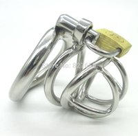 Wholesale Stainless Steel Chastity Device Shortest - Stainless Steel Super Short Male Chastity Device Adult Cock Cage With arc-shaped Cock Ring Sex Toys For Men Chastity Belt
