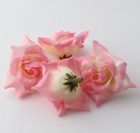 ingrosso fiore artificiale rosa rosa rosa-Caldo ! 300pcs rose rosa fiore testa fiore artificiale decorazione di cerimonia nuziale fiori 5 cm