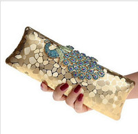 Wholesale Dinner Party Purses - Factory New Style Women's Peacock Evening Clutch Bag Purse Print Dot Clutch Handbag Black Gold Silver Party Dinner Purse hight quality