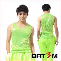 Wholesale Sexy Hip Hop Dance Wear - Fall-2015 Fashion Men's Clothing hip hop top dance male DS costume performance wear fluorescent green sexy stage Vest