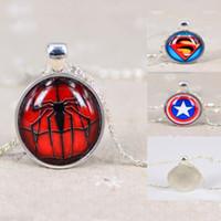 Wholesale Batman Charms - superhero time gem necklace avengers batman superhero spiderman Captain America necklace men lady sliver chain party necklace collar