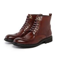 botas marrones para el invierno al por mayor-Al por mayor-Diseñador negro / marrón bronceado para hombre botas de cuero genuino de la motocicleta botas mens zapatos de invierno botas de los hombres al aire libre zapatos casuales