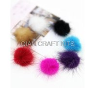 Wholesale 80pcs DIY mini Genuine Mink Fur ball Furry Ball for Mobile Phone Tag Handbag Charm Keychain mm