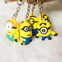 Wholesale Despicable Key Rings - hottest 3D me minion keychain Despicable Me 3 Minion keychain keyring key ring cute promotion gift keychain and card package different style