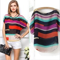 Wholesale Ladies Striped Shirts - New Women tops Chiffon Top Blouse Multi-colour Striped Print Shirts Ladies Plus Size Short Sleeve Casual Loose Blusas Femininas 1007