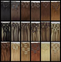 """Wholesale Brazilian Straight Hair 5a - 5A 14""""- 26"""",8pcs Unprocessed Brazilian remy Hair straight clip-in hair remy human hair extensions, 12 colors for choose ,120g set,"""