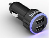 Wholesale Universal Dual USB Port V A Car Charger LED Lighting Smart Fuse Short Circuit Protection