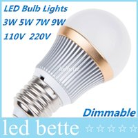 Wholesale 5w Globe Bulb Led Chip - Dimmable LED Globe Bulb Light E27 Real Power 3W 5W 7W 9W High Power LED Chip Energy Saving For Bedroom Study Room AC110-240V