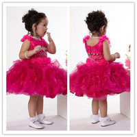 Wholesale Little Girls Pageant Dresses Rhinestones - 2015 Custom made Cupcake little Kids Outstanding Beaded crystal Organza straps Infant Pageant Dress Flower Girl Dresses new design