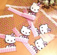 Cheap 50pcs lot Lace wave point hello kitty Plastic food bags,16x20cm packaging bags pouches wrappers cupcake Free shipping