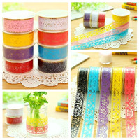 Wholesale Lace Tape Decorations - Colorful easy Hollowed-out lace tape fashion soft DIY photo decoration tape Waterproof tape Home decoration supplies IA934