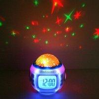 Wholesale Reloj Despertador Digital - Digital Led Projection Projector Alarm Clock Calendar Thermometer horloge reloj despertador Music Starry Color Change Star Sky Night Lights
