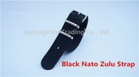 Wholesale Nato Zulu Strap - Hot Sale Fashion 18 20 22mm Black NATO G10 Zulu Watch Strap With Silver Stainless Buckle Clasp Free shipping -100