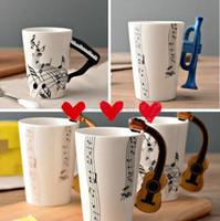 imprimir canecas cerâmicas venda por atacado-Copo cerâmico Guitarra caneca de Impressão Criativa Flauta de Piano Canecas de Café Em Casa Drinkware 14 Tipos 300 ml 2018 Novos Projetos