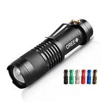 Wholesale Cree T6 7w Led - Free epacket, 6 Colors Flash Light 7W 300LM CREE Q5 LED Camping Flashlight Torch Adjustable Focus Zoom waterproof flashlights Lamp