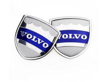 ingrosso badge per auto-1 pair 39x39mm Car Styling Volvo In Lega di Zinco Car Side Sticker Badge Emblem adesivo auto Mark High Qulity misura per Volvo