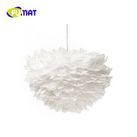 Wholesale Feather Pendant Lamp - FUMAT LED Modern Simple Creative 3 heads White Feather Chandelier Pendant Lamps for living room Bedroom Study Lustre criativo