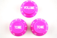 Wholesale Strat Knobs - Pink 1 Volume&2 Tone Knobs Electric Guitar Control Knobs For Fender Strat Style Guitar Free Shipping Wholesales