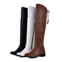 Wholesale Cheap Flat Knee Boots - Free Shipping Hot Sale Wild Popular fashion woman flat army boots for winter shining stones overknee boots Round Toe Cheap Boots M188