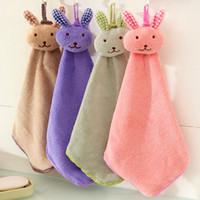 karikatür bebek mendilleri toptan satış-Bebek havlu Mercan kadife tavşan modelleme havlu mutfak mendil karikatür temiz Havlu askıya alınabilir bez C3023 Silin