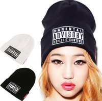 Wholesale Womens Skull Cap Beanie - New Autumn Winter Mens Womens Knitted Beanie PARENTAL ADVISORY EXPLICIT Knitted Hat Unisex Cap Wool Hats Hip-hop Knit Baseball Cap