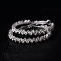925 aros venda por atacado-Brincos de argola para as mulheres moda jóias brinco de diamante casamento / noivado rodada brincos pendurados 925 prata grandes brincos de argola