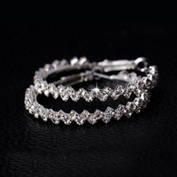 große runde mode ohrringe großhandel-Ohrringe Hoop für Frauen Modeschmuck Diamant Ohrring Hochzeit / Verlobung Runde Ohrringe hängende 925 Sterling Silber große Creolen
