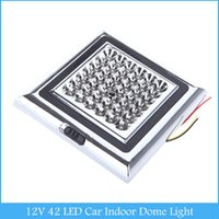 Wholesale Car Roof Interior Light Led - 12V 42 LED Car Vehicle Indoor Roof Ceiling Lamp Interior Decorative Dome Light Square White C367