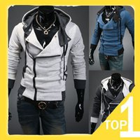 Wholesale korean style trench coat - 2017 New Men's Hoodies Fashion Korean Style Slim Hooded Sweatshirt Trench Coat Christmas Long Sleeve Parka Cardigan Clothes Outerwear N23