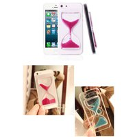 Wholesale Purple Iphone 4s Glass - Granular Crystal Clear Sand Clock Sand Glass Transparent Hourglass Pattern Back Cover for iPhone 6 6 Plus 5 5s 4 4s Samsung Note 4 3 s5 s4