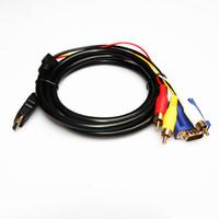 hdtv bileşeni video kablosu toptan satış-1.8 M 6FT HDMI Erkek VGA 15 Pin + 3 RCA Bileşen Ses Video Adaptörü Bilgisayar Kablosu HDTV 1080 p jenerik HDMI HDTV için VGA 3 RCApk1