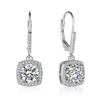 Brand New 925 Sterling Silver Hoop Earrings Square Simulated Diamond Pendente Brincos Scraw Back Drop Brincos Para Mulheres