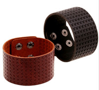 Wholesale Mens Wide Leather Cuff Bracelets - 24*4cm PUNK style Wide leather wristbands bracelet cuff leather gift bracelets bangle men cuff wide man bangle jewelry mens bracelets