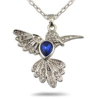 Wholesale Hummingbird Charms - Locket Animal Charm Vintage Metal Anitque Silver Royalblue Crystal Flying Bird Hummingbird Pendant Necklace Link Chain Jewelry