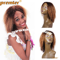 Wholesale Styled Wigs Curls - Free Shipping Rihanna Style Affordable Short   Medium Style Ombre Human Hair Wigs Afro Kinky Curl Indian Remy Hair Machine Made Wig
