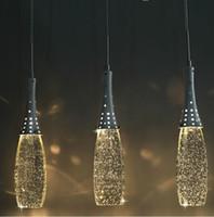 kristal baş ışığı toptan satış-Ücretsiz kargo Modern Kristal Işıklar Kabarcık Kolye Işık G4 Ampuller-Gölge ile Sanatsal Droplight Tek kafaları Avize Aydınlatma